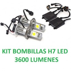 KIT BOMBILLAS H7 LED 3600 LUMENES