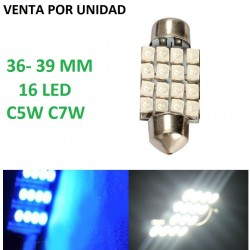 BOMBILLA FESTOON 36-39MM 16 LED C5W C7W BLANCO O AZUL
