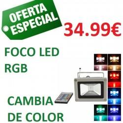 FOCO LED RGB CON MANDO MULTICOLOR