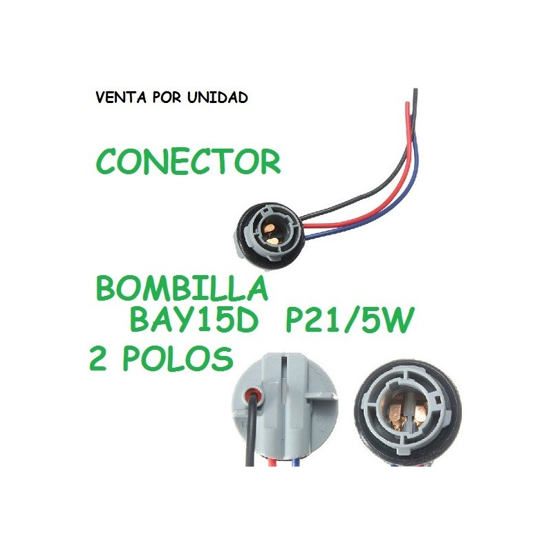 CONECTOR BOMBILLA BAY15D HEMBRA 2 POLOS P21/5W POSICION Y FRENO TRASERA