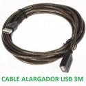 CABLE ALARGADOR USB 3 METROS MACHO - HEMBRA 480 Mbps.