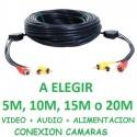 CABLE ALARGADOR RCA AUDIO Y VIDEO + 12V,