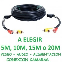 CABLE ALARGADOR RCA AUDIO Y VIDEO + 12V PARA CAMARAS SEGURIDAD CCTV