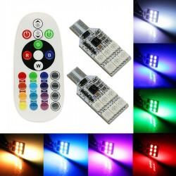 2x T10 LED RGB CON MANDO MULTICOLOR W5W CUÑA
