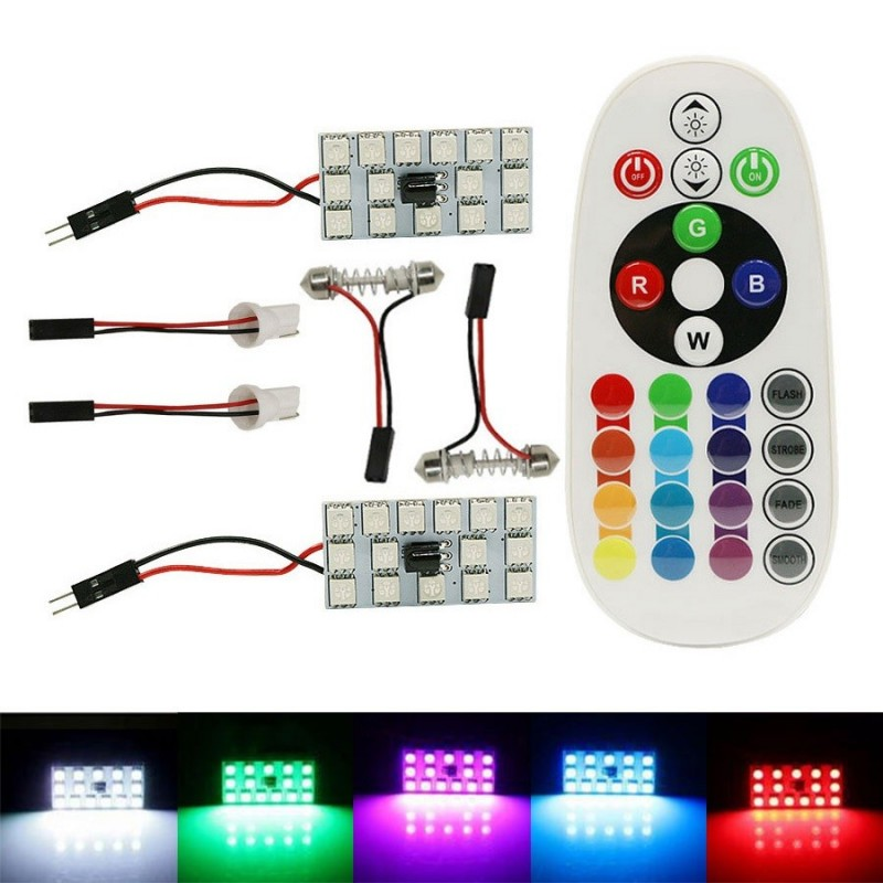 2x PLACA 15 LED T10 FESTOON RGB MULTICOLOR MANDO W5W CUÑA C3W C5W C7W