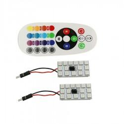 2x PLACA 15 LED T10 FESTOON RGB MULTICOLOR MANDO W5W CUÑA C3W C5W C7W