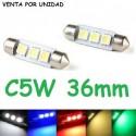 BOMBILLA FESTOON C5W 3 SMD LED 5050 36 MM