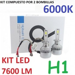 KIT BOMBILLAS H1 LED 7600 LUMENES 12/24V COCHE FURGONETA CAMION