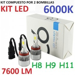 KIT BOMBILLAS H8 H9 H11 LED 7600 LUMENES 12/24V COCHE FURGONETA CAMION