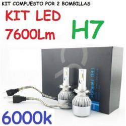 KIT BOMBILLAS H7 LED 7600 LUMENES 12/24V COCHE FURGONETA CAMION