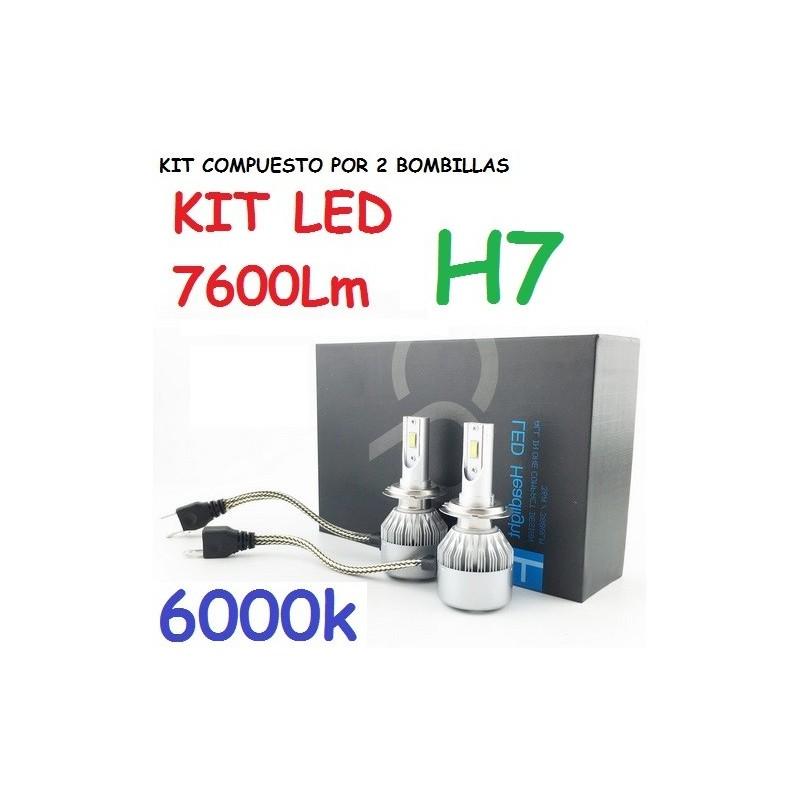 KIT BOMBILLAS H7 LED 7600 LUMENES 12/24V COCHE FURGONETA