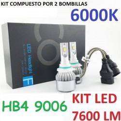 KIT BOMBILLAS HB4 9006 HIR2 9012 LED 7600 LUMENES 12/24V COCHE FURGONETA CAMION