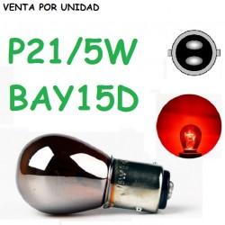 BOMBILLA P21/5W S25 BAY15d 1157 ROJO LUZ POSICION Y FRENO CROMADA