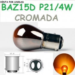 BOMBILLA P21/4W S25 BAZ15d 7225 NARANJA LUZ INTERMITENTE CROMADA