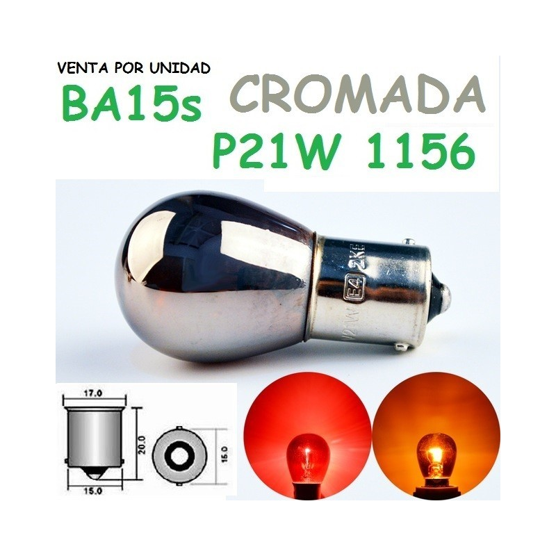 BOMBILLA S25 BA15s P21W LUZ POSICION CROMADA HALOGENA