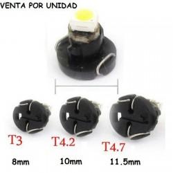 BOMBILLA LED T3 T4.2 T4.7 LUZ RELOJES Y MARCADOR COCHE