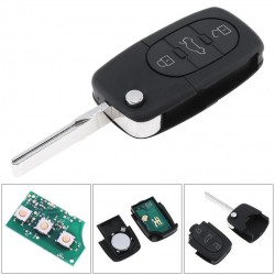 Llave Circuito Mando y Chip Transponder Audi Seat VW 3 Botones Ref. F