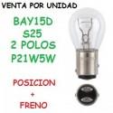 BOMBILLA P21/5W S25 BAY15d 1157 ROJO LUZ POSICION Y FRENO HALOGENA