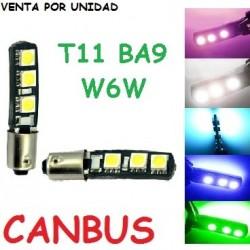 Bombilla 6 Led Canbus Ba9s T4W w6w H6W Luz Posición Cortesía Interior