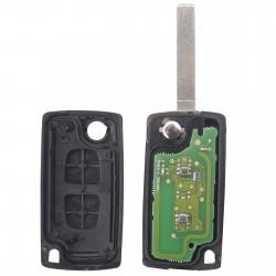 Llave Circuito Mando y Chip Transponder Citroen Peugeot 2 Botones Ref. T