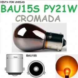 Bombilla PY21W S25 BAU15S 12V21W 581 Naranja Luz Intermitente Cromada