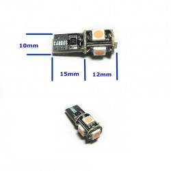 Bombilla Canbus 5 Led T10 W3W W5W Luz de Posición Matrícula Cortesía