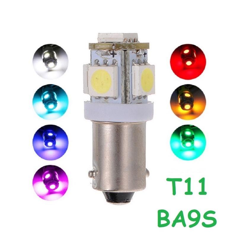 Bombilla 5 Led H6W BA9S T11 Luz Posición Matrícula Cortesía Coche Moto