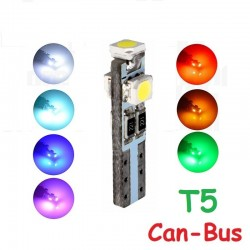 Bombilla Canbus 3 Led T5 W1.2W W2.3W Chivatos y CuentaKilómetros Coche