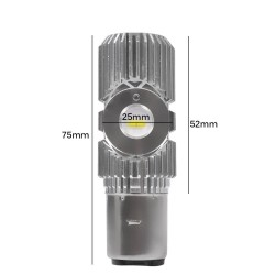 Bombilla Ba20d H6 S2 Led 2400 Lúmen Sin Ventilador Luz Blanca Moto Quad