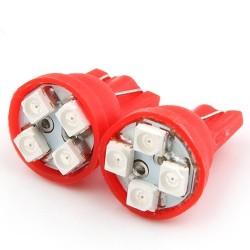 BOMBILLA T10 W5W 4 SMD LED 1210 ROJAS.